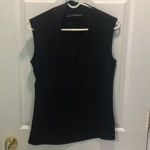 All Saints Black Tank with side ruffle